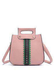 Colour Block Textured Leather Rivets Handbag