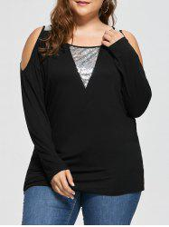 Plus Size Open Shoulder Sequined Insert Top