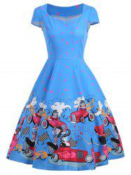 Sweetheart Neck Printed Vintage Dress