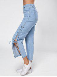 Lace Up Palazzo Jeans - BLUE