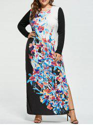 Plus Size Floral Maxi Long Sleeve Dress