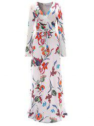 Long Sleeve Floral Surplice Maxi Formal Dress