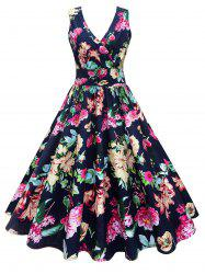 Midi Surplice Floral Vintage Dress - FLORAL