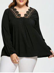 Crochet Panel Plus Size V Neck Blouse