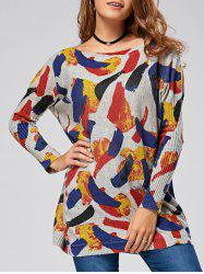 Pullover Colorful Pattern Drop Shoulder Sweater