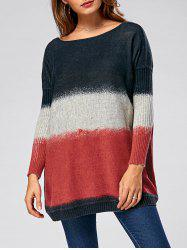 Pullover Drop Shoulder Ombre Ribbed Sweater
