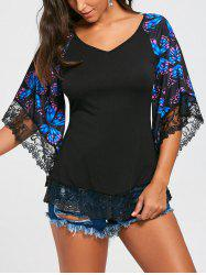 Butterfly Raglan Sleeve Lace Trim T-shirt - BLUE