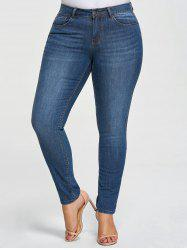 Plus Size Five Pockets Denim Pencil Jeans