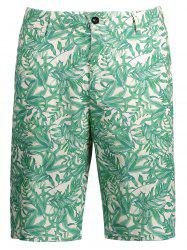 Leaves Printed Casual Shorts