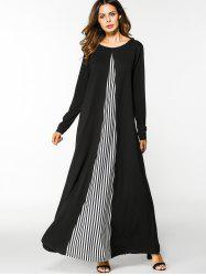 Striped Panel Long Sleeve Maxi Dress -
