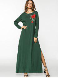 Floral Embroidered Patches Slit Maxi Dress -