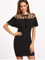 Floral Embroidered Voile Panel Bodycon Dress -