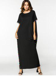 Lace Trim Casual Loose Maxi Dress -