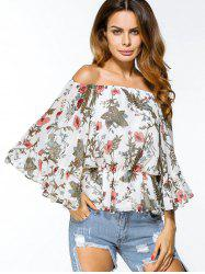 Off Shoulder Floral Chiffon Loose Blouse -