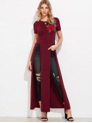 High Slit Floral Embroidered Patches Long Top -