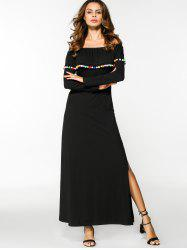Off Shoulder Overlay Slit Maxi Dress - BLACK M