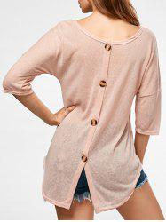 Back Button Sheer Tunic Knitwear -