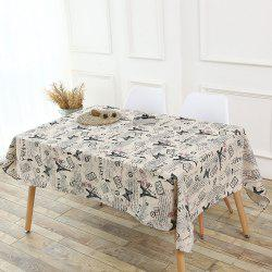 Kitchen Decor Tower Words Pattern Table Cloth -