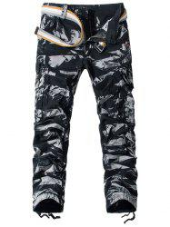 Camouflage Pockets Embellished Zipper Fly Cargo Pants -
