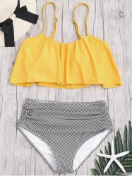 Plus Size High Waisted Striped Bikini Set -