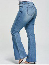 Plus Size Five Pockets Denim Flare Jeans -
