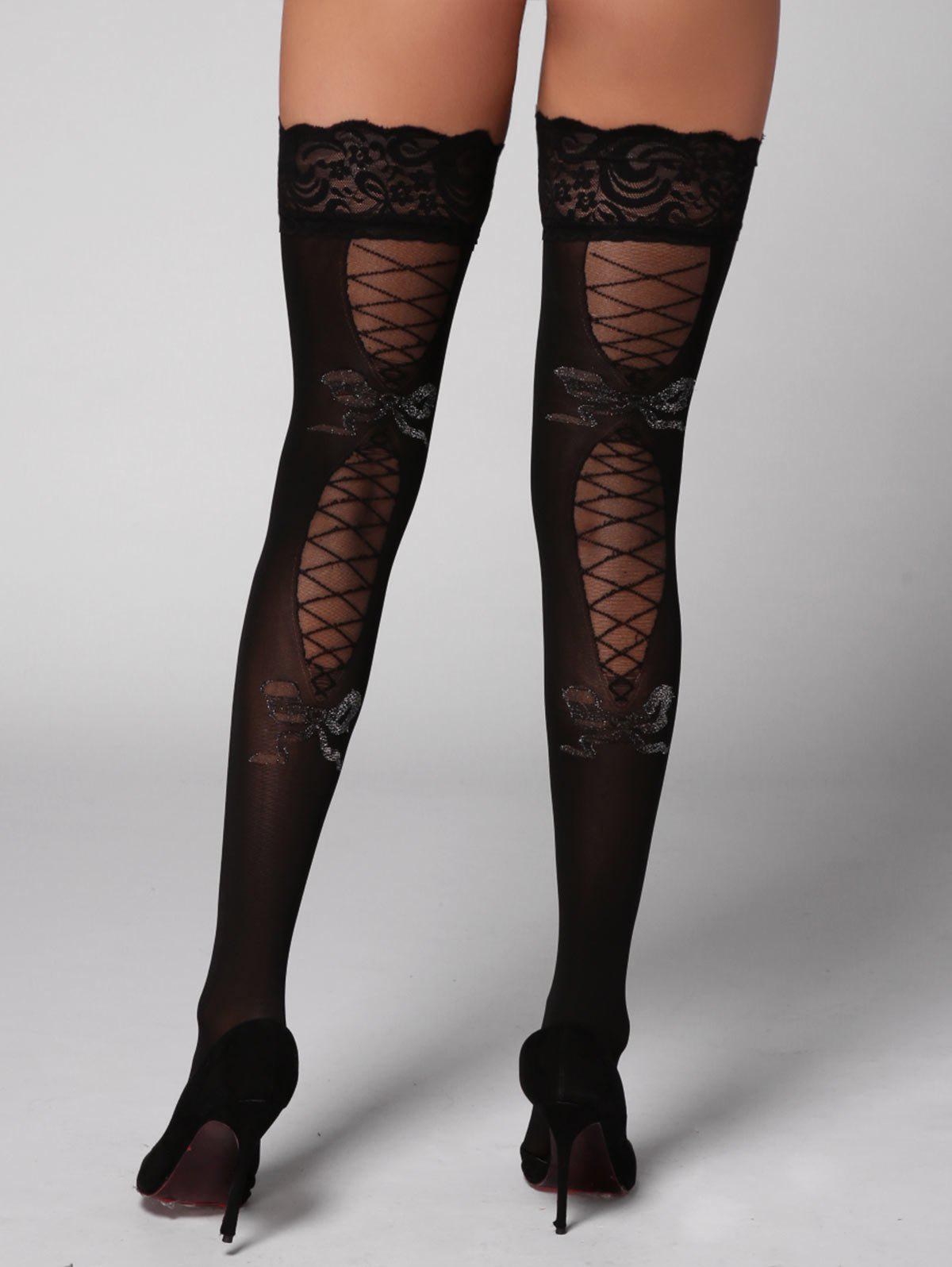 Lace Insert Overknee StockingsWOMEN<br><br>Size: ONE SIZE; Color: BLACK; Material: Polyester; Pattern Type: Solid; Embellishment: Lace; Weight: 0.1300kg; Package Contents: 1 x Stockings;