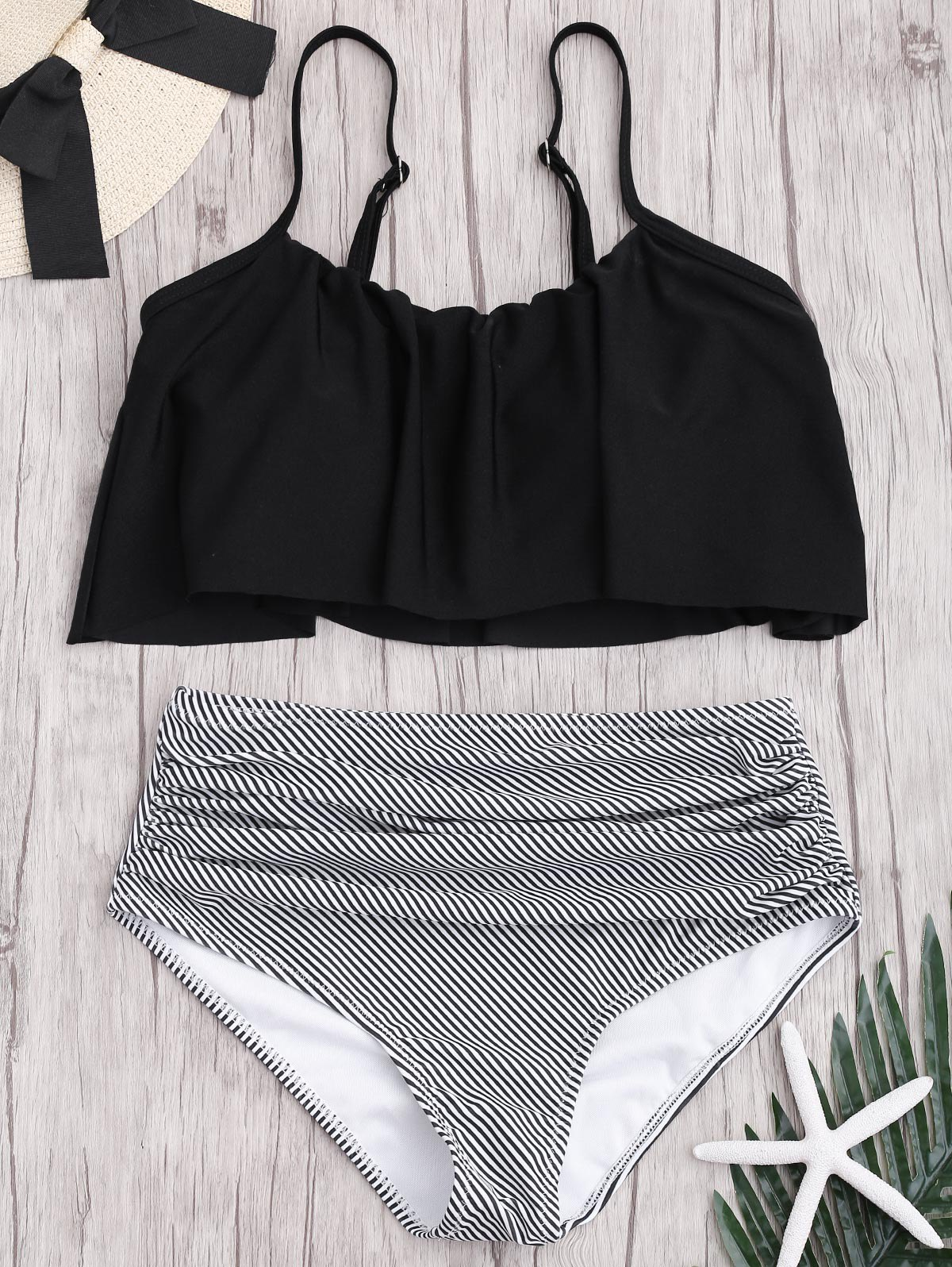 Online Plus Size High Waisted Striped Bikini Set