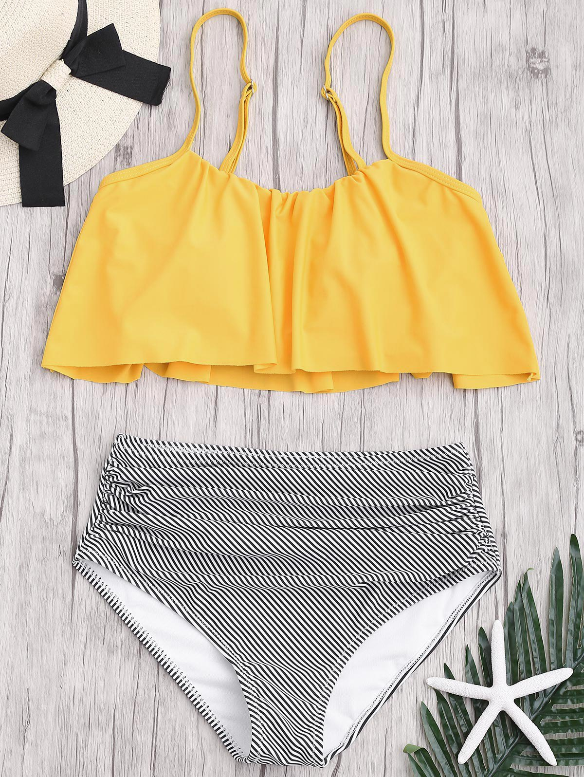 Latest Plus Size High Waisted Striped Bikini Set