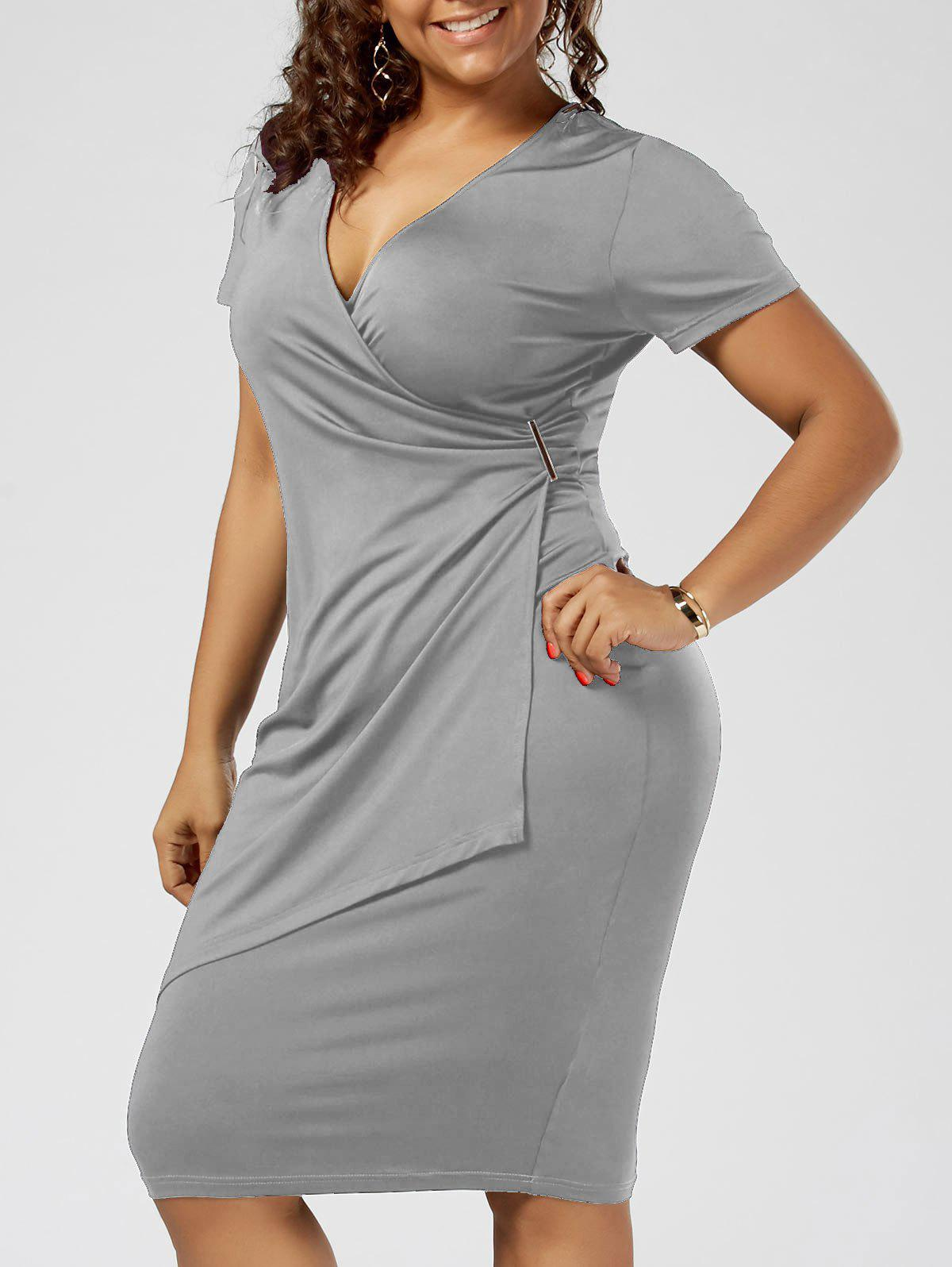 Plus Size Overlap Plain Tight Surplice V Neck Sheath DressWOMEN<br><br>Size: 3XL; Color: LIGHT GRAY; Style: Brief; Material: Polyester,Spandex; Silhouette: Sheath; Dresses Length: Knee-Length; Neckline: V-Neck; Sleeve Length: Short Sleeves; Pattern Type: Solid Color; With Belt: No; Season: Summer; Weight: 0.3200kg; Package Contents: 1 x Dress;