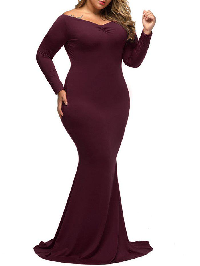 Long Tight Formal Plus Size Long Sleeve Carpet Maxi DressWOMEN<br><br>Size: 3XL; Color: WINE RED; Style: Brief; Material: Polyester,Spandex; Silhouette: Bodycon; Dresses Length: Floor-Length; Neckline: V-Neck; Sleeve Length: Long Sleeves; Waist: Natural; Embellishment: Ruched; Pattern Type: Solid Color; Elasticity: Elastic; With Belt: No; Season: Fall,Spring; Weight: 0.6000kg; Package Contents: 1 x Dress;