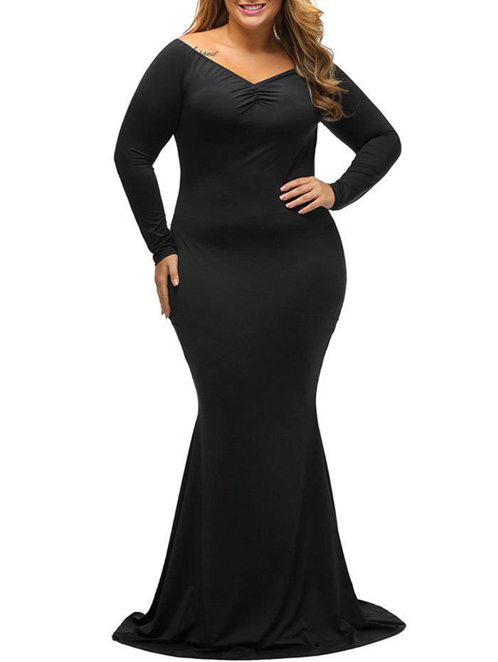 38% OFF] Long Tight Formal Plus Size Long Sleeve Carpet Maxi Dress ...