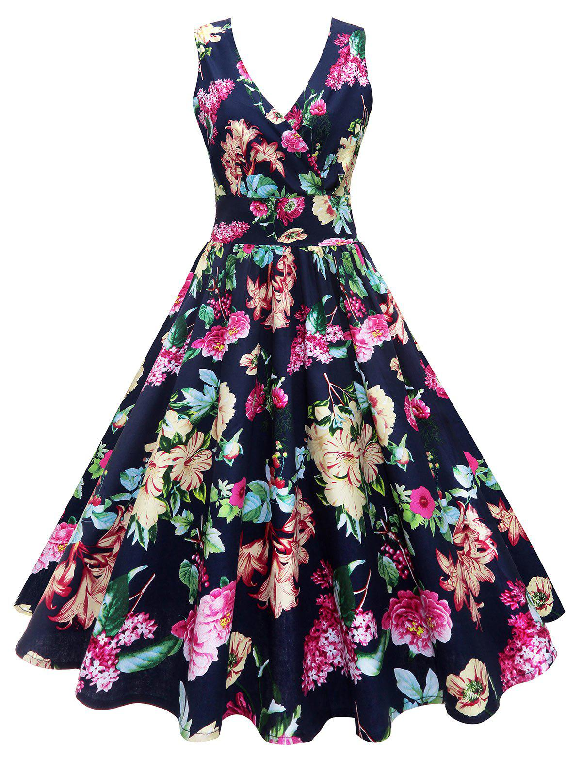 Best Midi Surplice Floral Vintage Dress
