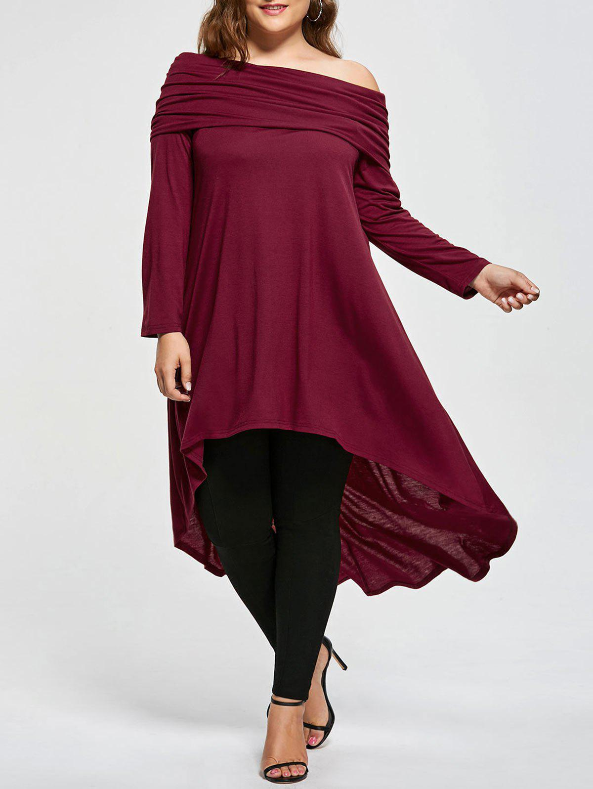 Plus Size Skew Neck Asymmetric Longline TopWOMEN<br><br>Size: 5XL; Color: WINE RED; Material: Cotton,Polyester; Shirt Length: Long; Sleeve Length: Full; Collar: Skew Collar; Style: Casual; Season: Fall,Spring; Pattern Type: Solid; Weight: 0.5000kg; Package Contents: 1 x T-shirt;
