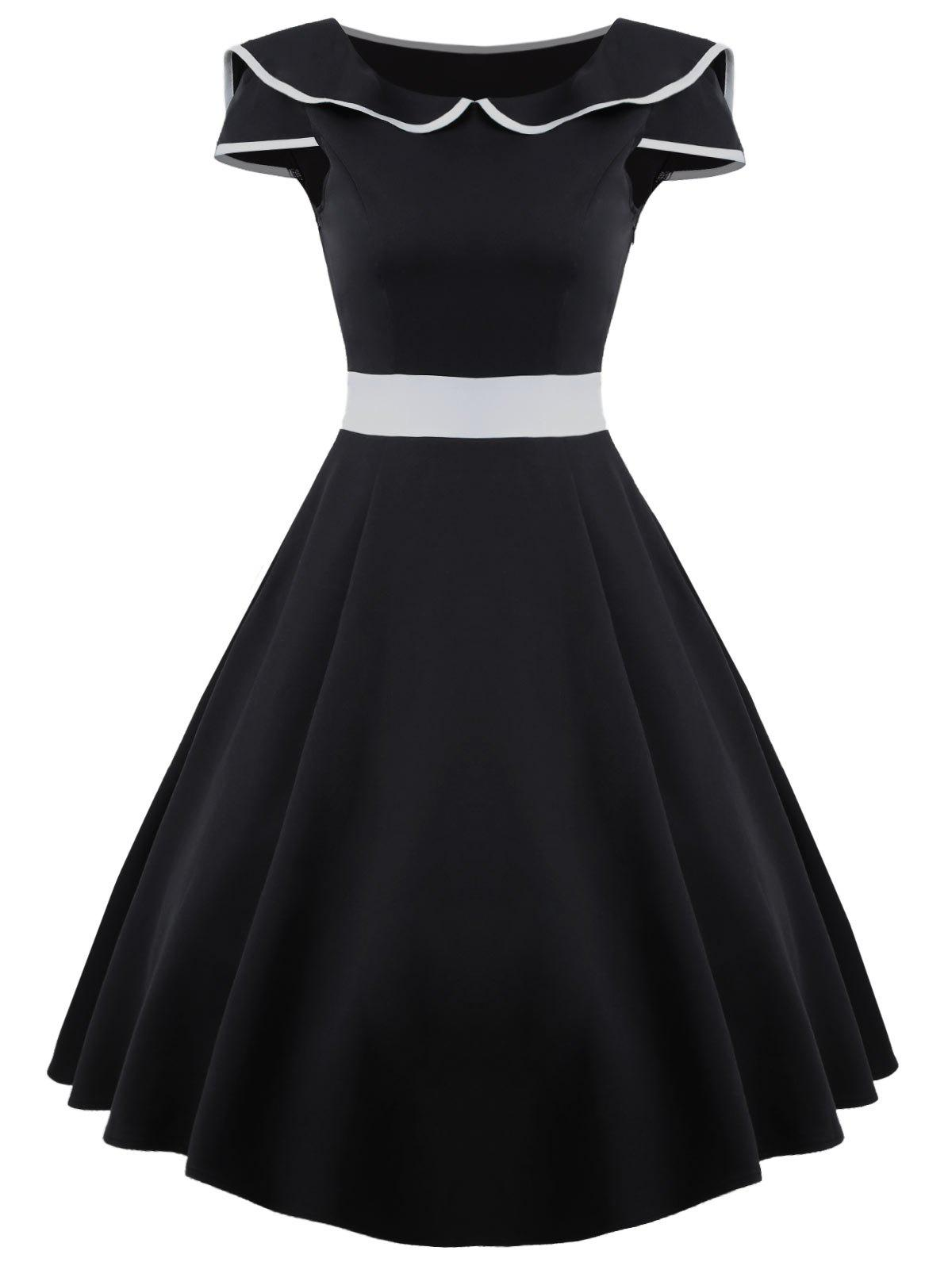 Midi A Line Vintage Skater DressWOMEN<br><br>Size: XL; Color: BLACK; Style: Vintage; Material: Polyester; Silhouette: A-Line; Dresses Length: Mid-Calf; Neckline: Peter Pan Collar; Sleeve Type: Cap Sleeve; Sleeve Length: Short Sleeves; Pattern Type: Others; With Belt: No; Season: Summer; Weight: 0.4000kg; Package Contents: 1 x Dress;