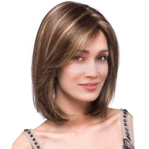 Short Side Part Highlight Straight Colormix Bob Synthetic WigHAIR<br><br>Size: 36CM; Color: BROWN; Type: Full Wigs; Cap Construction: Capless; Style: Straight; Material: Synthetic Hair; Bang Type: Side; Length: Short; Length Size(CM): 36; Weight: 0.1800kg; Package Contents: 1 x Wig;