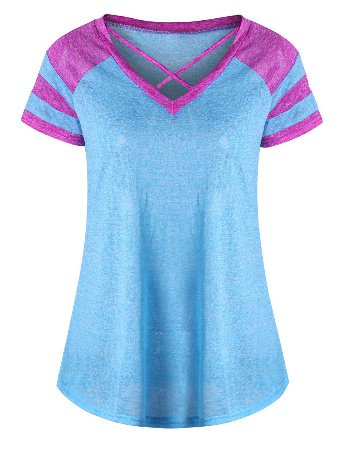 Lattice Neck Two Tone TopWOMEN<br><br>Size: 2XL; Color: LAKE BLUE; Material: Polyester,Spandex; Shirt Length: Regular; Sleeve Length: Short; Collar: V-Neck; Style: Casual; Season: Summer; Pattern Type: Solid; Weight: 0.1500kg; Package Contents: 1 x T-shirt;