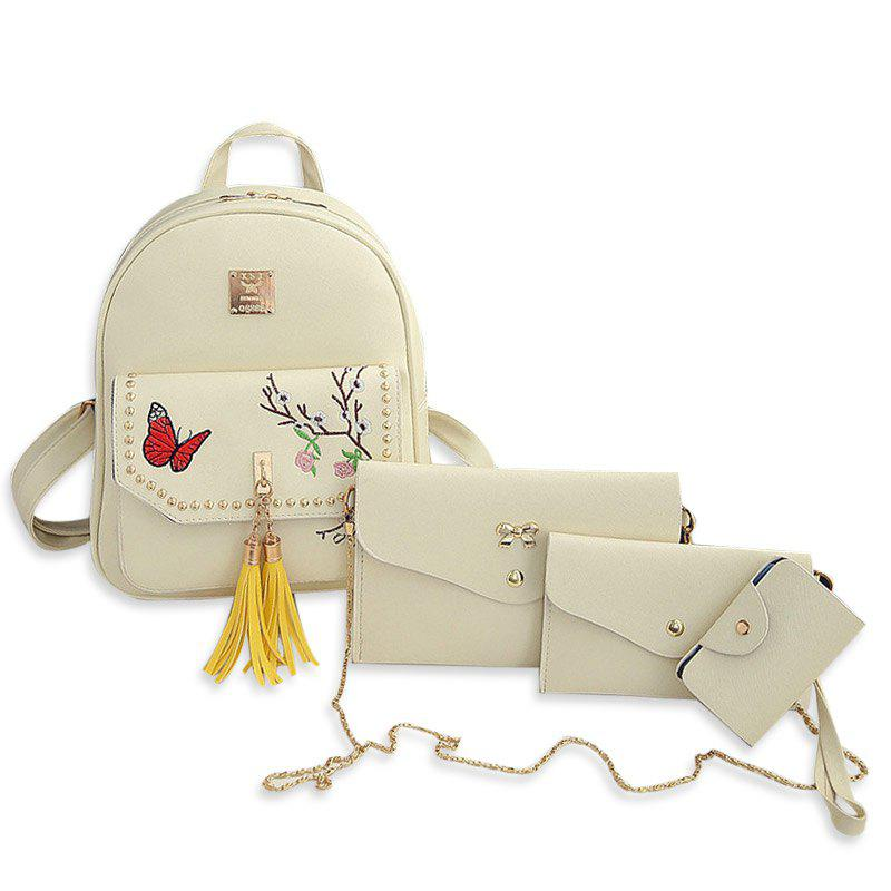 Outfit Tassels Embroidery Studded Backpack Set