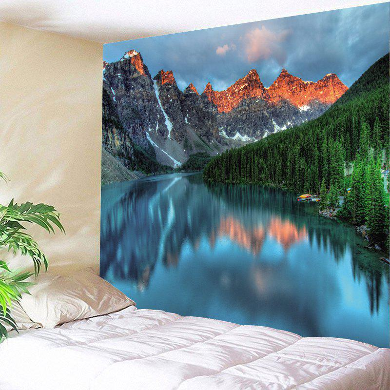 Lake Mountain Printed Wall Art TapestryHOME<br><br>Size: W79 INCH * L59 INCH; Color: COLORMIX; Style: Natural; Theme: Landscape; Material: Polyester; Feature: Removable,Washable; Shape/Pattern: Plant; Weight: 0.4200kg; Package Contents: 1 x Tapestry;
