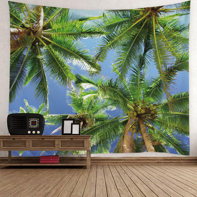 Coconut Tree Printed Wall TapestryHOME<br><br>Size: W79 INCH * L59 INCH; Color: GREEN; Style: Natural; Material: Polyester; Feature: Removable,Washable; Shape/Pattern: Plant; Weight: 0.4200kg; Package Contents: 1 x Tapestry;