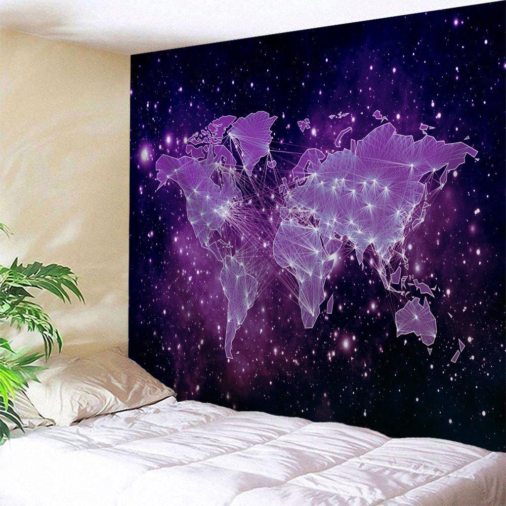 Galaxy World Map Print Tapestry Wall Hanging Art DecorationHOME<br><br>Size: W51 INCH * L59 INCH; Color: PURPLE; Style: Fashion; Material: Polyester; Feature: Washable; Shape/Pattern: Map; Weight: 0.1800kg; Package Contents: 1 x Tapestry;