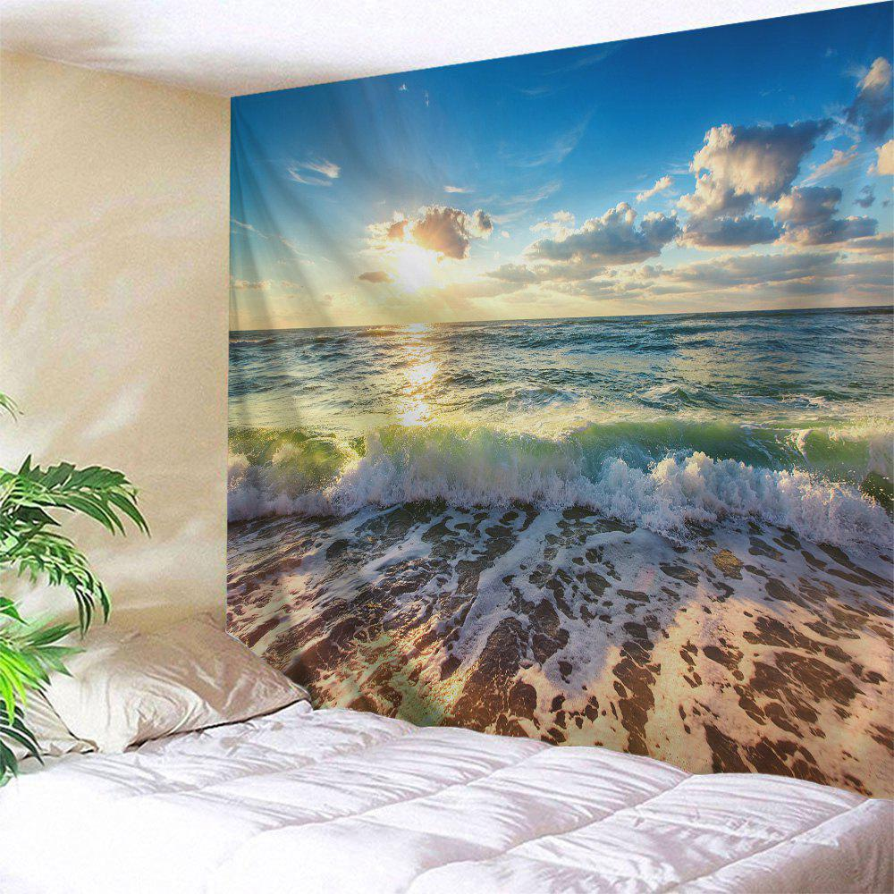Beach Waves Print Tapestry Wall Hanging Art DecorationHOME<br><br>Size: W71 INCH * L79 INCH; Color: COLORMIX; Style: Beach Style; Theme: Beach Theme; Material: Polyester; Feature: Washable; Shape/Pattern: Print; Weight: 0.3200kg; Package Contents: 1 x Tapestry;