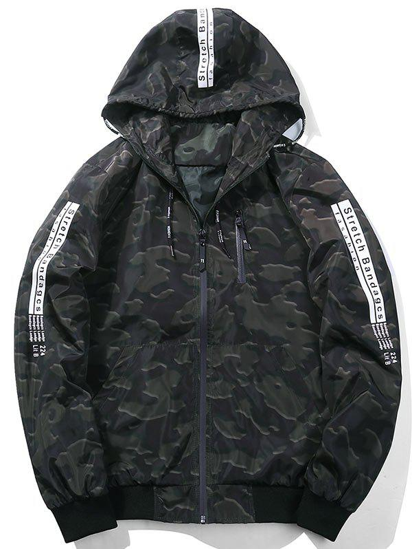 Zip Up Camouflage Graphic Hooded Jacket Vert Armée  L
