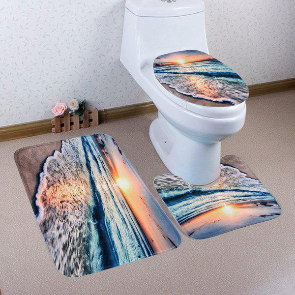 Latest 3PCS Soft Absorbent Sunset Beach Bathroom Rugs Set