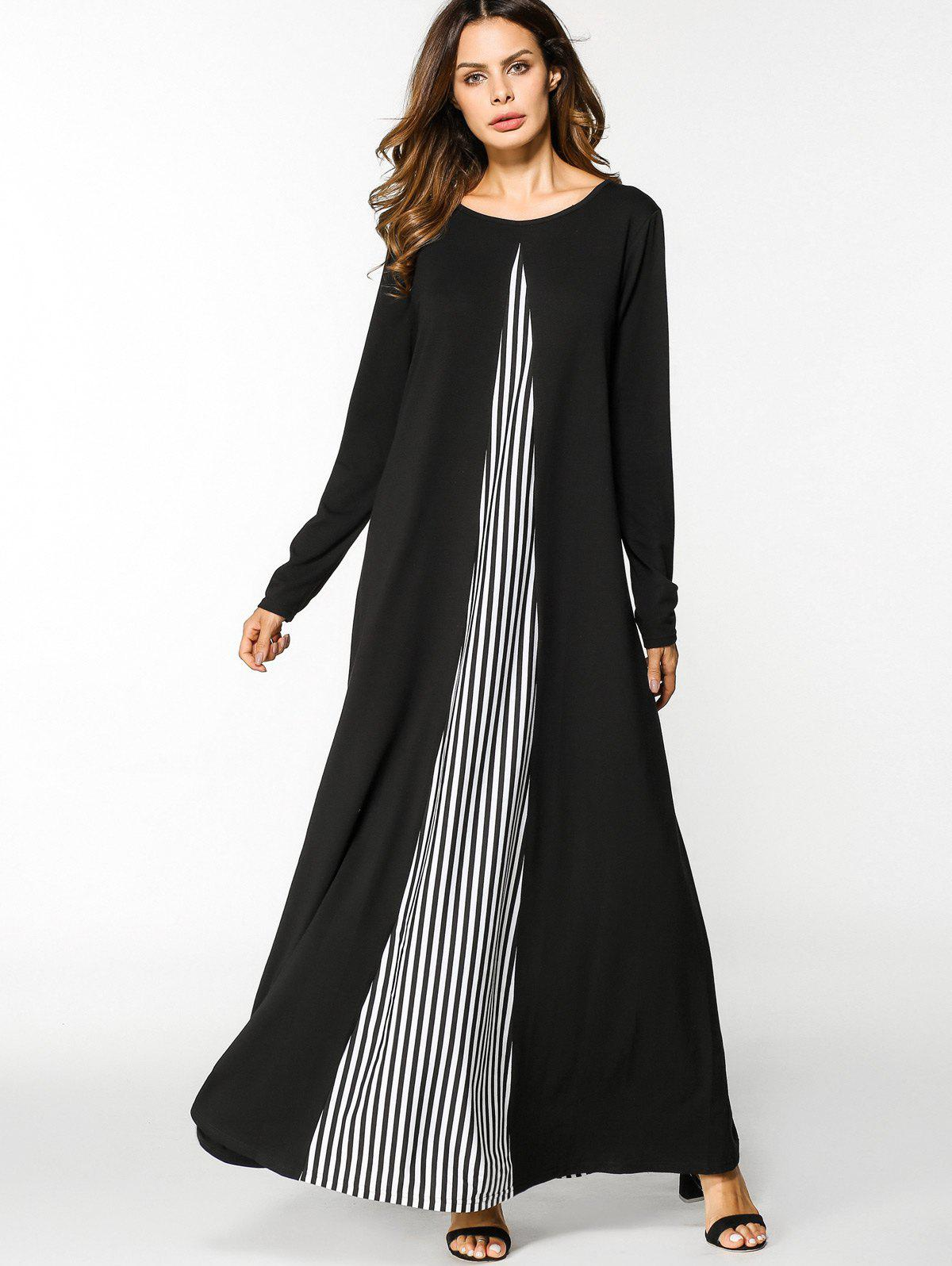 Unique Striped Panel Long Sleeve Maxi Dress