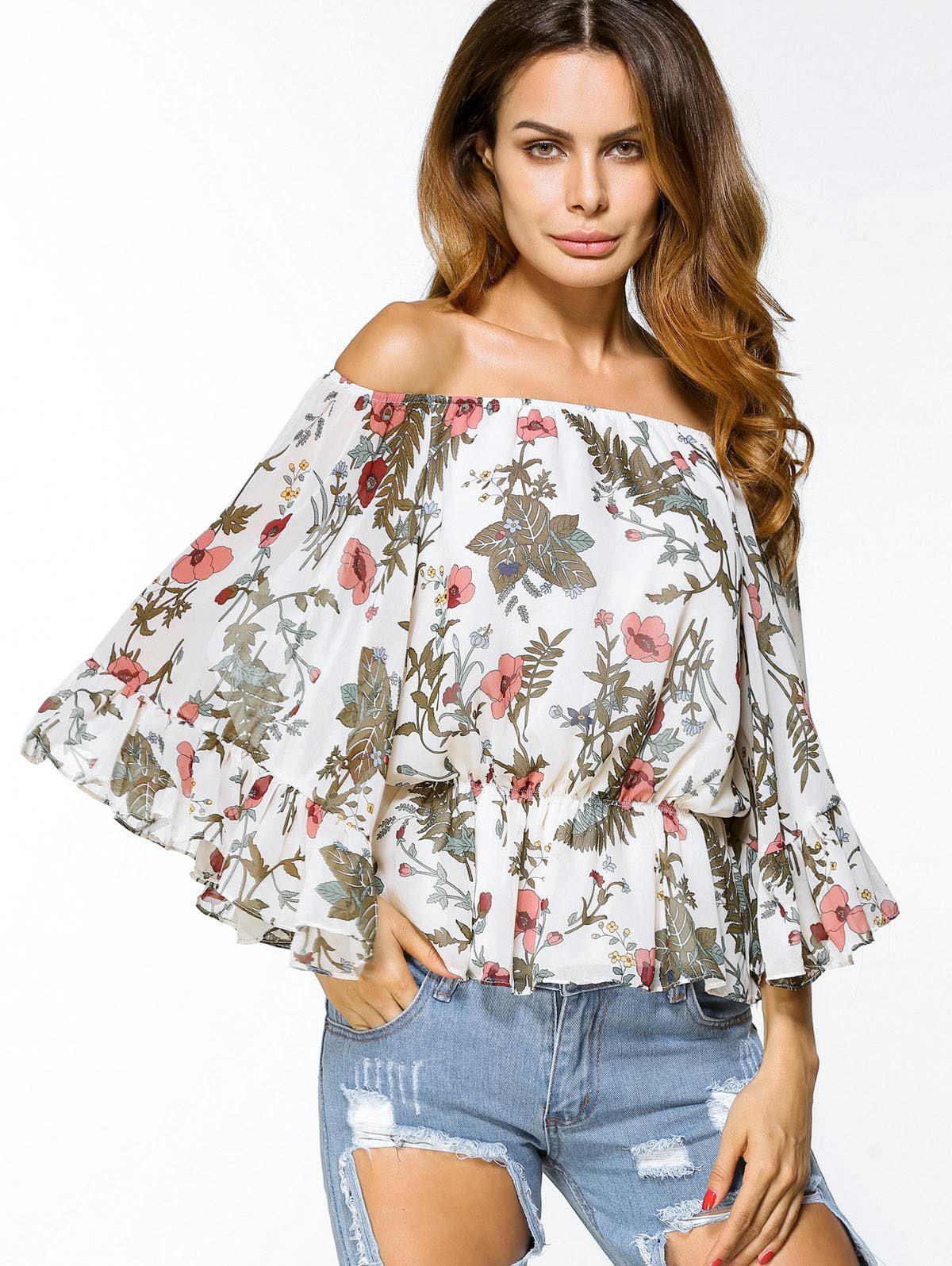 Discount Off Shoulder Floral Chiffon Loose Blouse