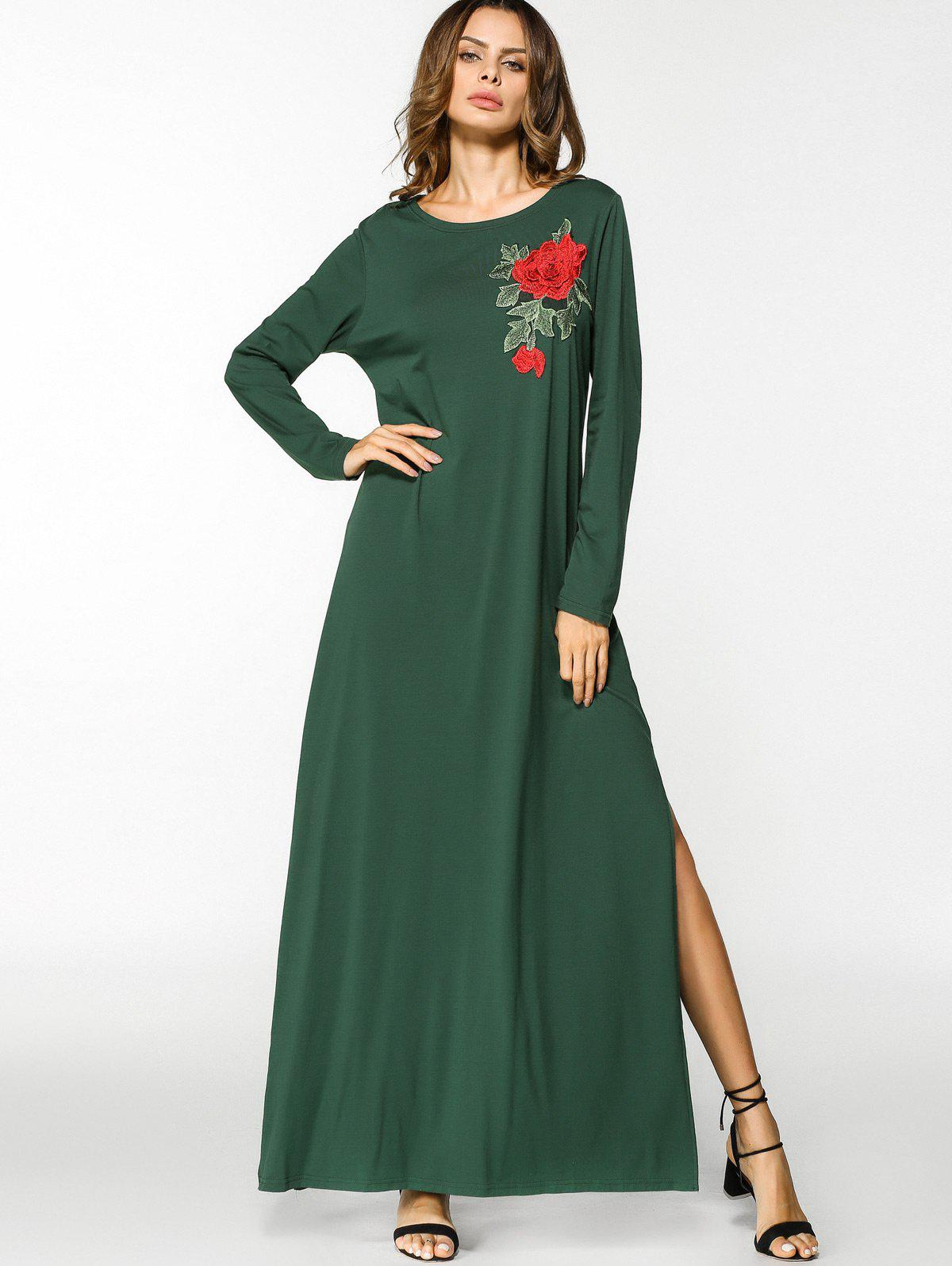 Sale Floral Embroidered Patches Slit Maxi Dress
