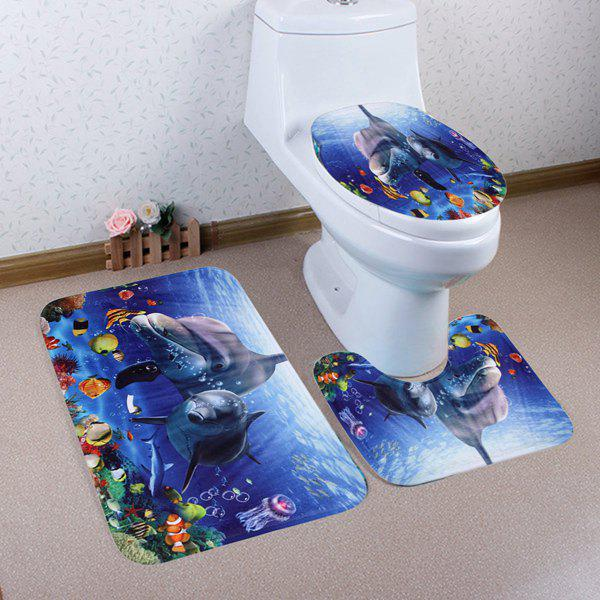 3Pcs Ocean World Dolphin Bathroom Mats SetHOME<br><br>Color: BLUE; Products Type: Bath Mats; Materials: Coral FLeece; Pattern: Animal; Style: Fashion; Size: Pedestal Rug: 40*50CM , Lid Toilet Cover: 38*43CM, Bath Mat : 50*80CM; Package Contents: 1 x Pedestal Rug + 1 x Lid Toilet Cover + 1 x Bath Mat;