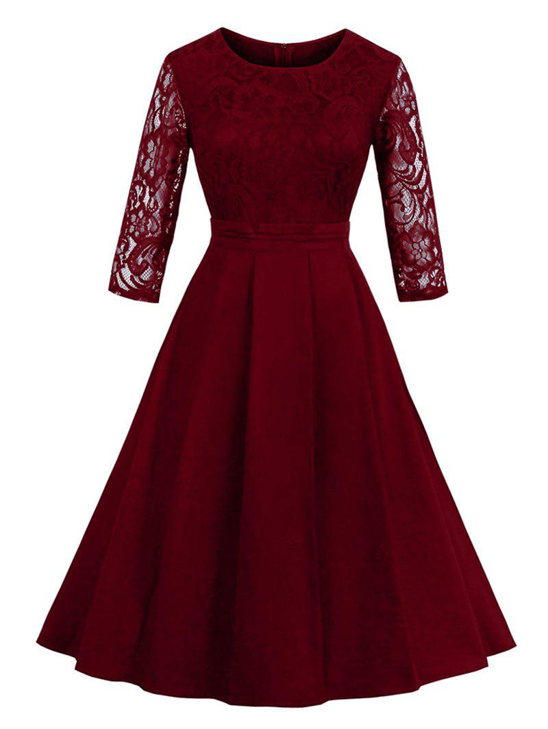 Vintage Lace Panel Fit and Flare DressWOMEN<br><br>Size: M; Color: WINE RED; Style: Vintage; Material: Cotton,Polyester; Silhouette: A-Line; Dresses Length: Knee-Length; Neckline: Round Collar; Sleeve Length: 3/4 Length Sleeves; Pattern Type: Solid Color; With Belt: No; Season: Fall,Spring,Summer; Weight: 0.4000kg; Package Contents: 1 x Dress;