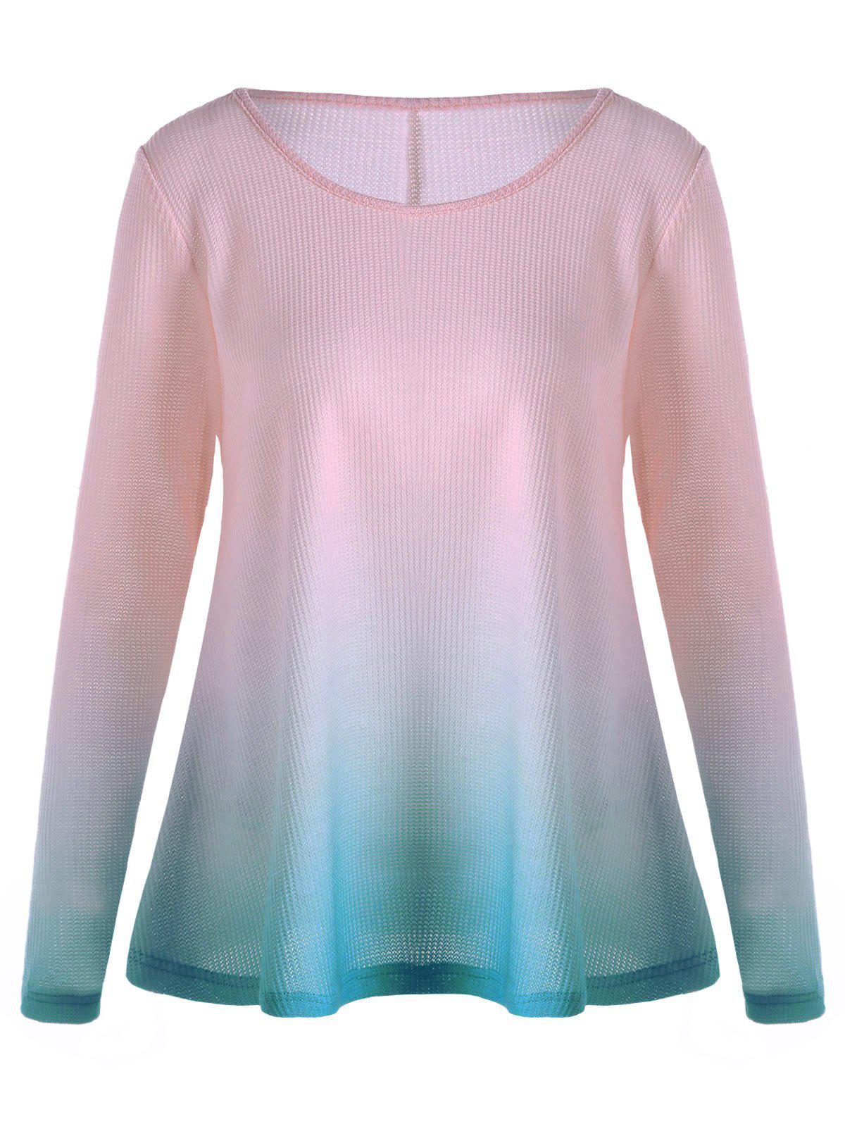 Fancy Knitted Long Sleeve Ombre T-shirt