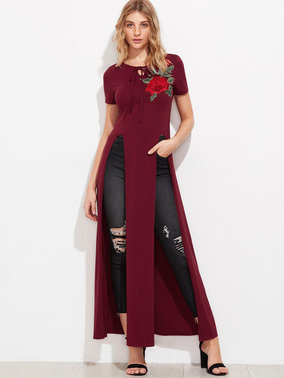 Sale High Slit Floral Embroidered Patches Long Top